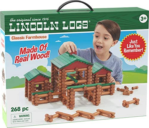 51SHuA8mgjL. AC  - LINCOLN LOGS – Classic Farmhouse - 268 Pieces - Real Wood Logs - Ages 3+ - Best Retro Building Gift Set for Boys/Girls – Creative Construction Engineering-Top Blocks Game Kit - Preschool Education Toy