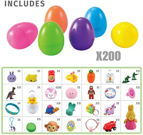 """51StflXHPfL. AC  - 200 Pcs Prefilled Colorful Easter Eggs w/Novelty Toys and Stickers 2 3/8"""" for Filling Treats, Easter Theme Party Favor, Easter Eggs Hunt, Basket Stuffers Fillers, Classroom Prize Supplies Toy"""