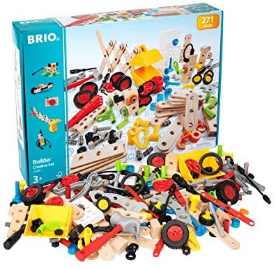 51UIwNer4fL. AC  - Brio Builder 34589 - Builder Creative Set - 271 Piece Construction Set STEM Toy with Wood and Plastic Pieces for Kids Age 3 and Up