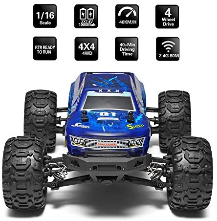 51V3uoA9VSL. AC  - MIEBELY Fast RC Cars – 4x4 Remote Control Car for Adults and Kids – 1:16 Scale Electric Powered 40km High Speed – 4WD All Terrain Off Road Truck – Ideal for Kids and Adults – 2 Rechargeable Batteries