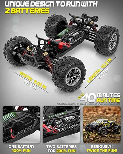 51WA0dGJzFL. AC  - 1:16 Brushless Large RC Cars 55+ kmh Speed - Kids and Adults Remote Control Car 4x4 Off Road Monster Truck Electric - All Terrain Waterproof Toys Trucks for Boys, Girls - 2 Batteries for 40+ Min Play