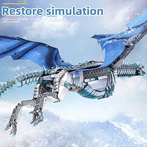 51WxJQVasPS. AC  - LEBLOCK Building Toys for Boys, Dragon Set Construction 1889 Pieces Building Bricks Blue Ice Dragon with Wings Engineering Toy Building Blocks Display Collection Great Gift for Adult