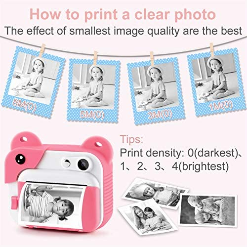 51X2vasxxyL. AC  - PROGRACE Kids Print Camera Instant Print Camera for Kids Travel Learning Birthday Gift Portable Digital Creative Print Camera for Girls Zero Ink Kids Camera Toy Toddler Camera with Print Paper(Pink)
