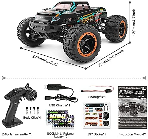 51X6STQ8QIS. AC  - HAIBOXING 1:16 Scale RC Cars 16889, 36Km/h high Speed Hobby Remote Control Car with 2.4GHz Radio Controller, All Terrain Waterproof Off-Road RC Trucks with 2 Batteries for Kids and Adults