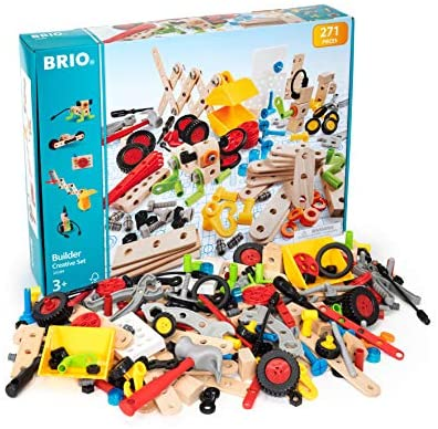 51XGL2Yb6eL. AC  - Brio Builder 34589 - Builder Creative Set - 271 Piece Construction Set STEM Toy with Wood and Plastic Pieces for Kids Age 3 and Up