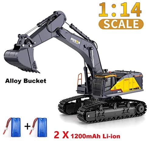 51XuTYnDhdL. AC  - HUINA 1592 Fully Functional 1:14 Scale 22 Channel Remote Control Excavator RC Toy Truck Construction Vehicle with Metal Bucket and LED Lights and Simulating Sounds – 2 Rechargeable Batteries