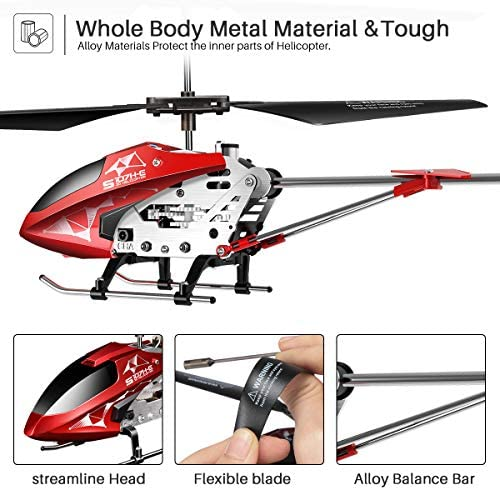 51Zmcrn5pLL. AC  - Remote Control Helicopter, S107H-E Aircraft with Altitude Hold, One Key take Off/Landing, 3.5 Channel, Gyro Stabilizer and High &Low Speed, LED Light for Indoor to Fly for Kids and Beginners(Red)
