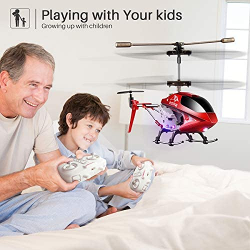 51a iWdrL6L. AC  - Remote Control Helicopter, S107H-E Aircraft with Altitude Hold, One Key take Off/Landing, 3.5 Channel, Gyro Stabilizer and High &Low Speed, LED Light for Indoor to Fly for Kids and Beginners(Red)