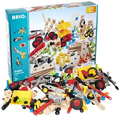 51a4 HBO1yL. AC  - Brio Builder 34589 - Builder Creative Set - 271 Piece Construction Set STEM Toy with Wood and Plastic Pieces for Kids Age 3 and Up