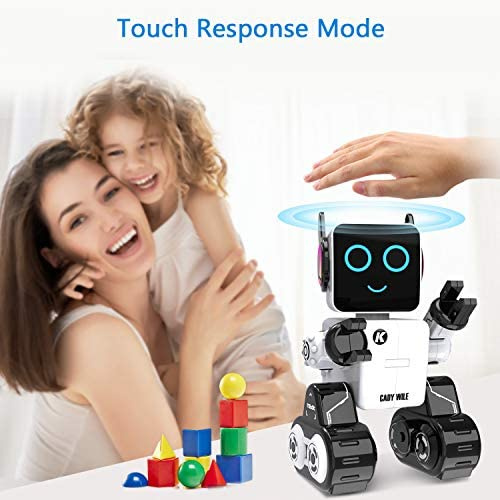 51aLr+L4ErL. AC  - Robots for Kids, Remote Control Robot Toy Intelligent Interactive Robot LED Light Speaks Dance Moves Built-in Coin Bank Programmable Rechargeable RC Robot Kit (White)