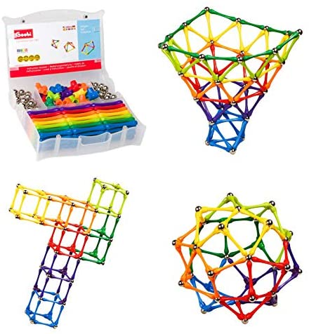 51af1G1lmlL. AC  - Goobi 180 Piece Construction Set Building Toy Active Play Sticks STEM Learning Creativity Imagination Children's 3D Puzzle Educational Brain Toys for Kids Boys and Girls with Instruction Booklet