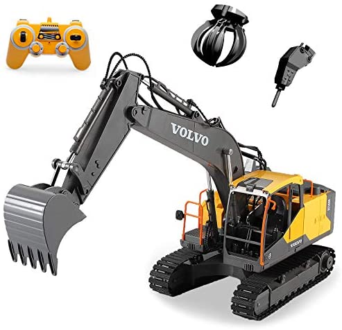 51b3nJ1EuvL. AC  - Mostop 3 in 1 Remote Control Excavator with 2 Tools 2.4G Construction Truck with Sounds 660 ° Rotation Toy for Kids