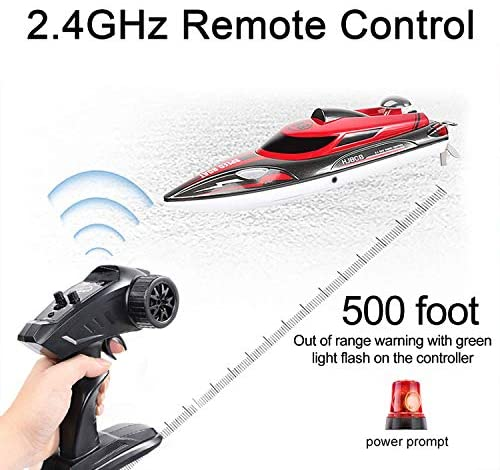 51e1wAYJDTL. AC  - HONGXUNJIE 2.4Ghz RC Boat- 20+ MPH High Speed Remote Control Boat for Adults and Kids for Lakes and Pools with 2 Rechargeable Batteries, Low Battery Alarm, Capsize Recovery (RED)