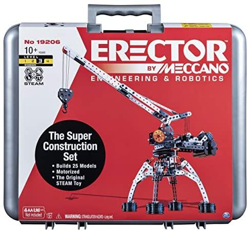 51eqTrzrooL. AC  - Erector by Meccano Super Construction 25-In-1 Motorized Building Set, Steam Education Toy, 638 Parts, For Ages 10+