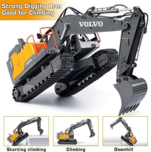 51f4tYzFuPL. AC  - Volvo RC Excavator 3 in 1 Construction Truck Metal Shovel and Drill 17 Channel 1/16 Scale Full Functional with 2 Bonus Tools Hydraulic Electric Remote Control Excavator Construction Tractor