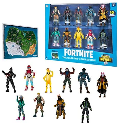 """51fv1xwUW1L. AC  - Fortnite The Chapter 1 Collection - Ten 4"""" Action Figures, Featuring Recruit (Jonesy), Black Knight, Rust Lord, The Visitor, Drift, DJ Yonder, Ice King (Gold), Peely, Rox, Eternal Voyager"""
