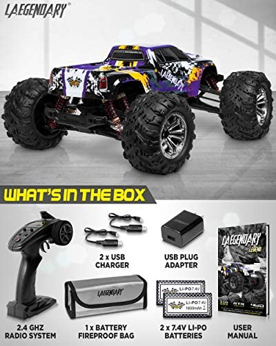 51gDf9KU6TL. AC  - 1:10 Scale Large RC Cars 48+ kmh Speed - Boys Remote Control Car 4x4 Off Road Monster Truck Electric - All Terrain Waterproof Toys Trucks for Kids and Adults - 2 Batteries + Connector for 40+ Min Play