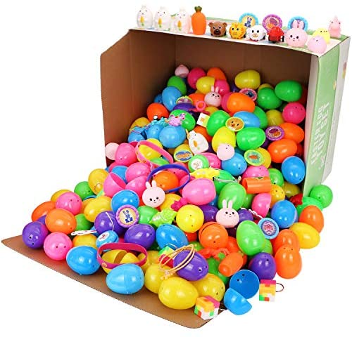 """51gcsqxjHaL. AC  - 200 Pcs Prefilled Colorful Easter Eggs w/Novelty Toys and Stickers 2 3/8"""" for Filling Treats, Easter Theme Party Favor, Easter Eggs Hunt, Basket Stuffers Fillers, Classroom Prize Supplies Toy"""
