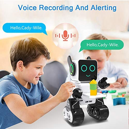 51iKW+VTZqL. AC  - Robots for Kids, Remote Control Robot Toy Intelligent Interactive Robot LED Light Speaks Dance Moves Built-in Coin Bank Programmable Rechargeable RC Robot Kit (White)