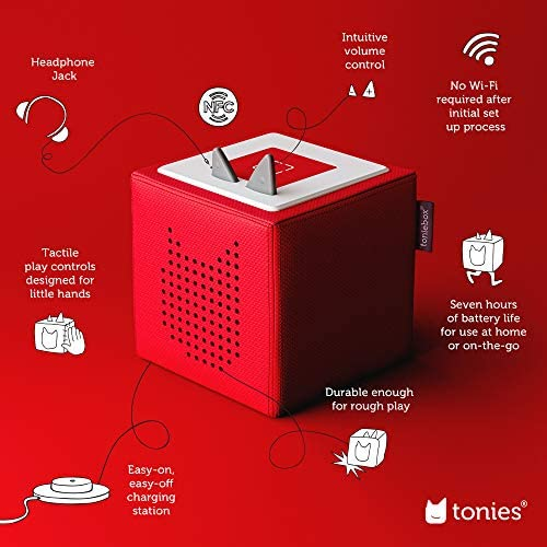 51jkNlYOd2L. AC  - Toniebox Starter Set Red + Playtime Action - Educational Musical Toy for Boys and Girls - Imagination-Building, Screen-Free Digital Listening Experience That Plays Stories, Songs, and More