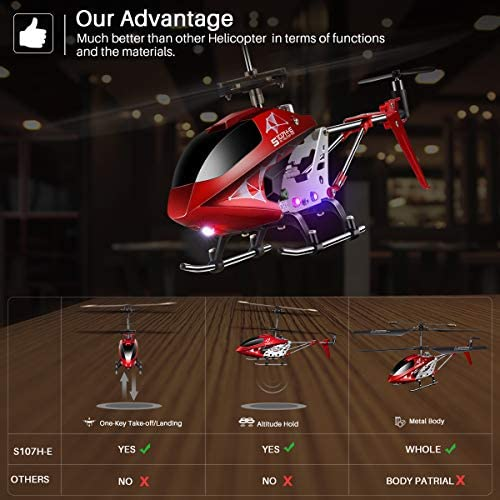 51ju4WHCr7L. AC  - Remote Control Helicopter, S107H-E Aircraft with Altitude Hold, One Key take Off/Landing, 3.5 Channel, Gyro Stabilizer and High &Low Speed, LED Light for Indoor to Fly for Kids and Beginners(Red)