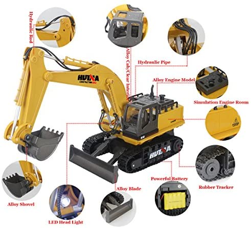 51k93sX2NwL. AC  - Fisca Remote Control Excavator RC Digger, 2.4Ghz 11 Channel Construction Vehicle Full Function Toy Metal Shovel with Lights and Sound
