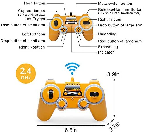 51kkUtrclfL. AC  - Mostop 3 in 1 Remote Control Excavator with 2 Tools 2.4G Construction Truck with Sounds 660 ° Rotation Toy for Kids