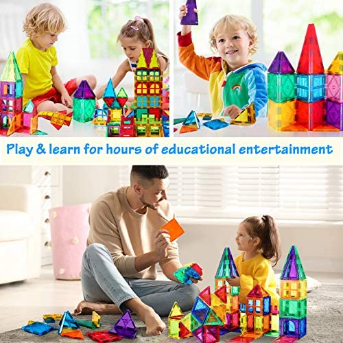 51lkMPS8bbL. AC  - VATENIC 120PCS Kids Magnetic Tiles Building Blocks 2 Car Set Color Magnetic Blocks Toys for Kids Children,Educational Learning Building Toys Birthday Gifts for Boys Girls Age 3 4 5 6 7 8 9 10 Year Old