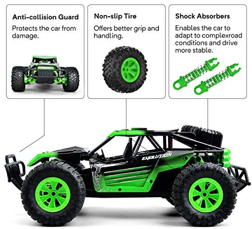 51lozV2cscL. AC  - Remote Control Car, Gizmovine 1:14 Scale Large Electric Drift RC Cars, High Speed Waterproof Race Cars for Boys Adults, 2.4GHz Off Road RC Trucks Buggy Toys with 2 Rechargeable Battery (Green)
