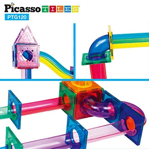 51lqZWgC7zL. AC  - PicassoTiles Marble Run 120 Piece Magnetic Building Blocks Magnet Tile Construction Toy Playset STEM Learning Educational Block Child Brain Development Kids Toys for Boys and Girls Age 3 and Up
