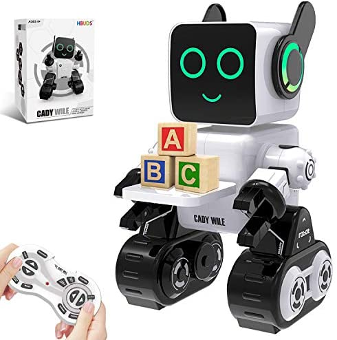 51mFl9hGQwL. AC  - Robots for Kids, Remote Control Robot Toy Intelligent Interactive Robot LED Light Speaks Dance Moves Built-in Coin Bank Programmable Rechargeable RC Robot Kit (White)