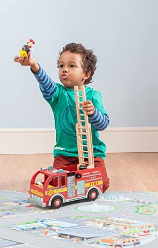 51mHFP0WffL. AC  - Le Toy Van Cars & Construction Collection Wooden Fire Engine Set Premium Wooden Toys for Kids Ages 3 Years & Up, Multi