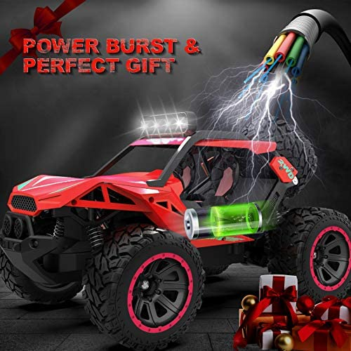 51mRsNGve9L. AC  - RC Cars Remote Control Car 1:12 High Speed 25 Km/h Rechargeable Monster Truck Remote Control with LED Light 2.4Ghz 2WD Powerful Motor Off Road Rock Crawler Vehicle Toys Cars for Boys Girls Kids, Red