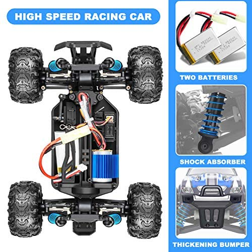 51oGuj10FEL. AC  - IMDEN Remote Control Car, Terrain RC Cars, Electric Remote Control Off Road Monster Truck, 1:18 Scale 2.4Ghz Radio 4WD Fast 30+ MPH RC Car, with 2 Rechargeable Batteries, Blue