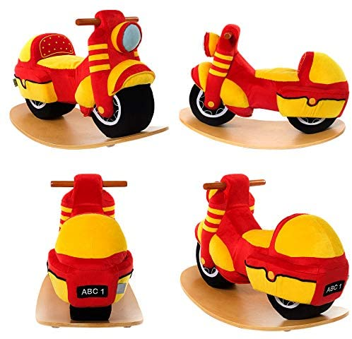 51pl8q7i7tL. AC  - labebe Baby Rocking Horse - Red Motorcycle Baby Plush Rocker Toys, Plush Wooden Riding Horse for 18 Months Boy&Girl, Toddler Outdoor&Indooor Toy Rocker, Plush Animal Rocker, Infant Gift