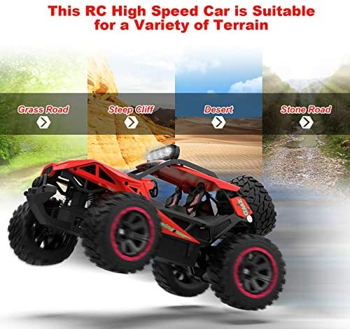 51qYPEyXTAL. AC  - RC Cars Remote Control Car 1:12 High Speed 25 Km/h Rechargeable Monster Truck Remote Control with LED Light 2.4Ghz 2WD Powerful Motor Off Road Rock Crawler Vehicle Toys Cars for Boys Girls Kids, Red