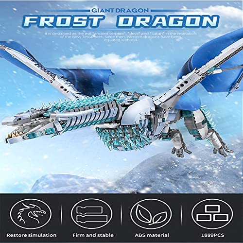 51qxxTQQRTS. AC  - LEBLOCK Building Toys for Boys, Dragon Set Construction 1889 Pieces Building Bricks Blue Ice Dragon with Wings Engineering Toy Building Blocks Display Collection Great Gift for Adult