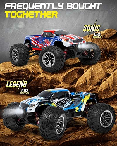 51segb0Z9kL. AC  - 1:16 Scale Large RC Cars 36+ kmh Speed - Boys Remote Control Car 4x4 Off Road Monster Truck Electric - All Terrain Waterproof Toys Trucks for Kids and Adults - 2 Batteries + Connector for 40+ Min Play