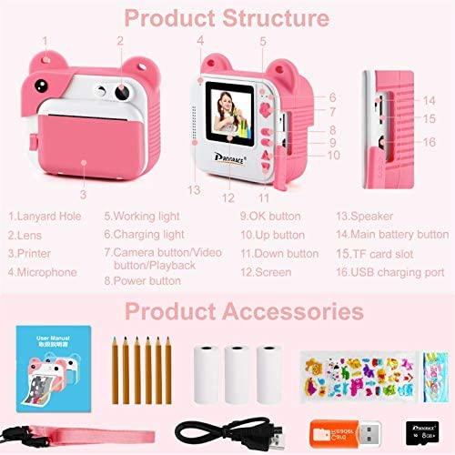 51shbVoE1JL. AC  - PROGRACE Kids Print Camera Instant Print Camera for Kids Travel Learning Birthday Gift Portable Digital Creative Print Camera for Girls Zero Ink Kids Camera Toy Toddler Camera with Print Paper(Pink)