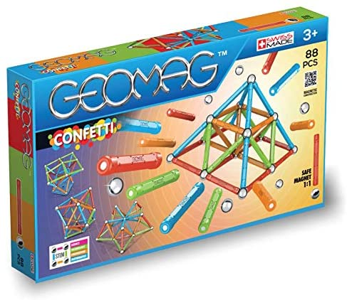 51t46gr2V8L. AC  - Geomag Magnetic Sticks and Balls Building Set   Magnet Toys for STEM, Creative, Educational Construction Play   Swiss-made Innovation   Confetti 88 Piece Age 3+, Light blue, orange, green, red