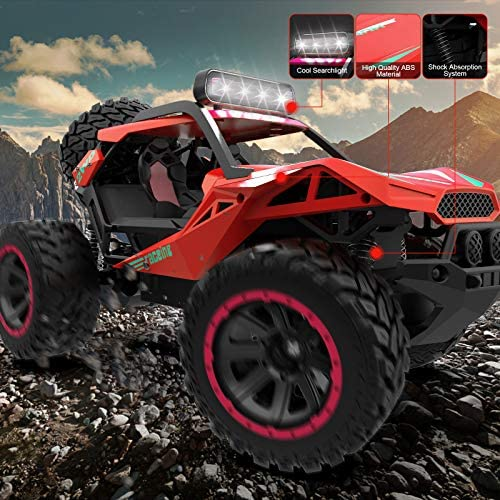 51u4NaxWFZL. AC  - RC Cars Remote Control Car 1:12 High Speed 25 Km/h Rechargeable Monster Truck Remote Control with LED Light 2.4Ghz 2WD Powerful Motor Off Road Rock Crawler Vehicle Toys Cars for Boys Girls Kids, Red