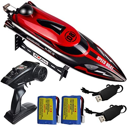 51uEQKXMtYL. AC  - HONGXUNJIE 2.4Ghz RC Boat- 20+ MPH High Speed Remote Control Boat for Adults and Kids for Lakes and Pools with 2 Rechargeable Batteries, Low Battery Alarm, Capsize Recovery (RED)