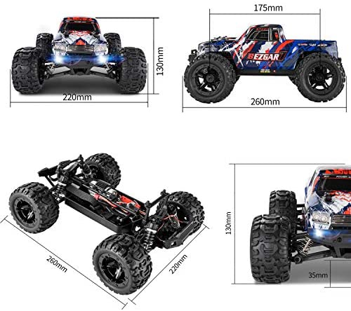 51utAFRyUCL. AC  - BEZGAR 7 Hobby Grade 1:16 Scale Remote Control Truck, 4WD High Speed 40+ Kmh All Terrains Electric Toy Off Road RC Monster Vehicle Car Crawler with Rechargeable Batteries for Boys Kids and Adults