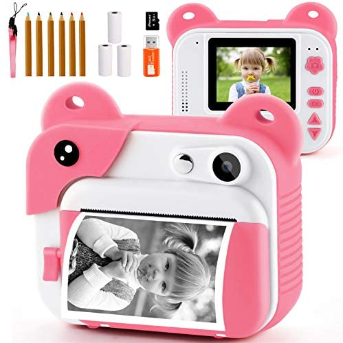 51vSCS42DCL. AC  - PROGRACE Kids Print Camera Instant Print Camera for Kids Travel Learning Birthday Gift Portable Digital Creative Print Camera for Girls Zero Ink Kids Camera Toy Toddler Camera with Print Paper(Pink)