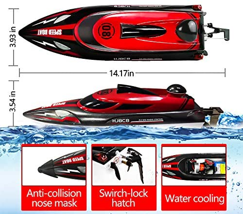 51vZW+lyS6L. AC  - HONGXUNJIE 2.4Ghz RC Boat- 20+ MPH High Speed Remote Control Boat for Adults and Kids for Lakes and Pools with 2 Rechargeable Batteries, Low Battery Alarm, Capsize Recovery (RED)