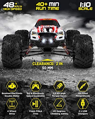 51vjTxkHshL. AC  - 1:10 Scale Large RC Cars 48+ kmh Speed - Boys Remote Control Car 4x4 Off Road Monster Truck Electric - All Terrain Waterproof Toys Trucks for Kids and Adults - 2 Batteries + Connector for 40+ Min Play