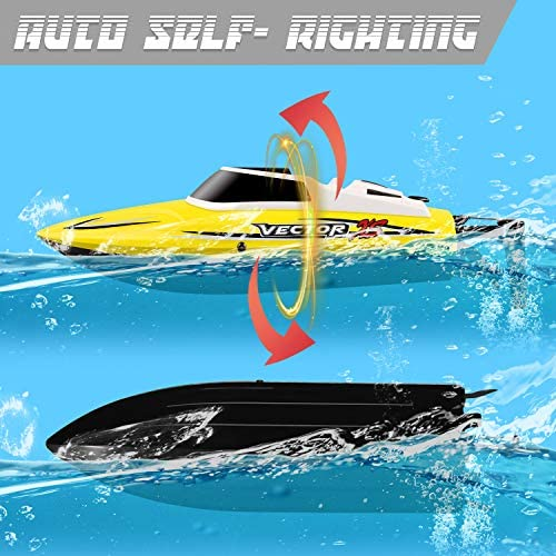 51vrahmpgLL. AC  - YEZI Remote Control Boat for Pools & Lakes,Udi001 Venom Fast RC Boat for Kids & Adults,Self Righting Remote Controlled Boat W/Extra Battery (Yellow)