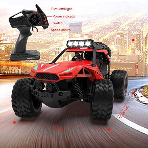 51wYcZM0DgL. AC  - RC Cars Remote Control Car 1:12 High Speed 25 Km/h Rechargeable Monster Truck Remote Control with LED Light 2.4Ghz 2WD Powerful Motor Off Road Rock Crawler Vehicle Toys Cars for Boys Girls Kids, Red