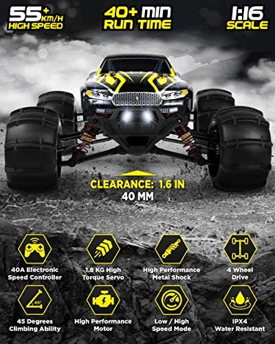 51xEUIfelKL. AC  - 1:16 Brushless Large RC Cars 55+ kmh Speed - Kids and Adults Remote Control Car 4x4 Off Road Monster Truck Electric - All Terrain Waterproof Toys Trucks for Boys, Girls - 2 Batteries for 40+ Min Play