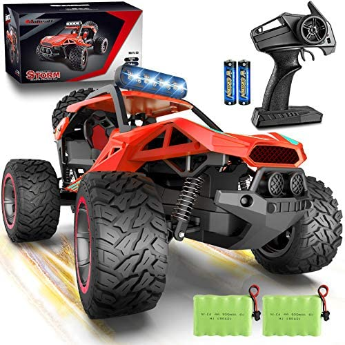 51xEZY3dKmL. AC  - RC Cars Remote Control Car 1:12 High Speed 25 Km/h Rechargeable Monster Truck Remote Control with LED Light 2.4Ghz 2WD Powerful Motor Off Road Rock Crawler Vehicle Toys Cars for Boys Girls Kids, Red